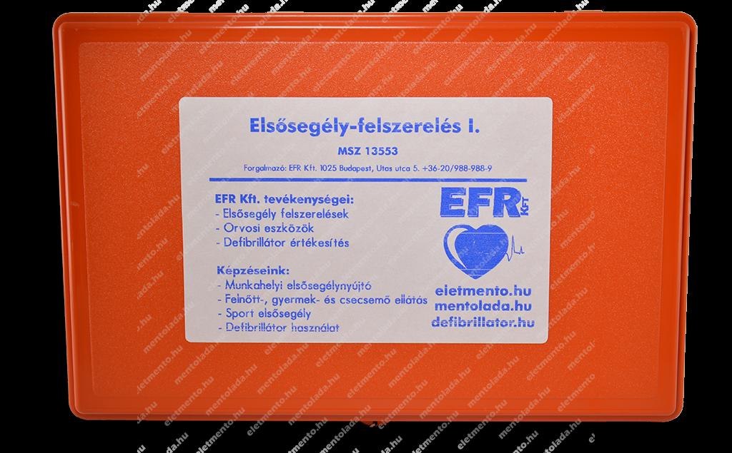 Elsősegély-felszerelés - I. kategória falra szerelhető (fali tartó kerettel) - 30 főig